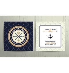 Nautical rope wedding card on fishnet background vector image vector image