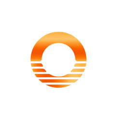 orange sun icon abstract letter o sunrise and vector image