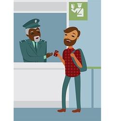 Passenger declares his passport to border officer vector image