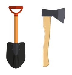 Shovel and hatchet axe icon vector