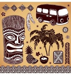 Vintage Aloha Tiki set vector image vector image