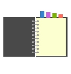 Blank grey notebook with colorful bookmarks vector image vector image