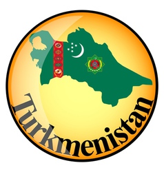 button Turkmenistan vector image vector image