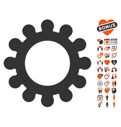 cog icon with dating bonus vector image