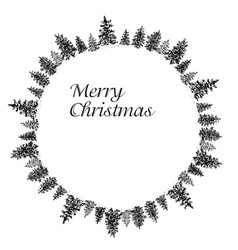 ink fir forest circular frame vector image