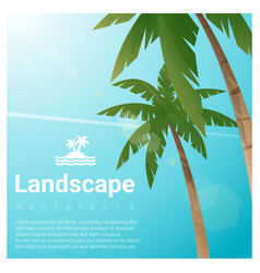 landscape background with palm trees vector image vector image