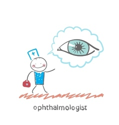 ophthalmologist thinks about eye vector image vector image