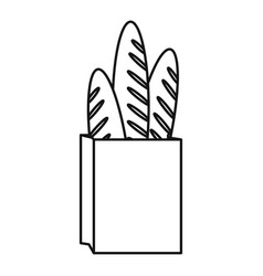 paper bag for bread french vector image