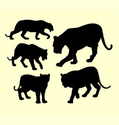 puma and panther animal silhouette vector image vector image