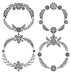 Set of hand drawn floral wreaths with vector image