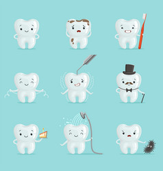 White teeth with different emotions set for label vector