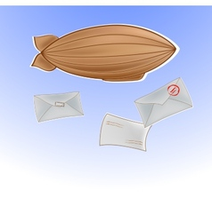 with airship in sky and letters vector image