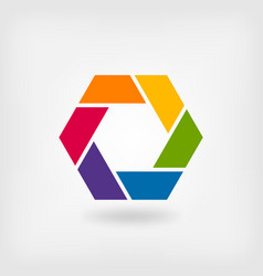 abstract symbol rainbow hexagon vector image