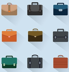 Briefcase icons set on background vector image