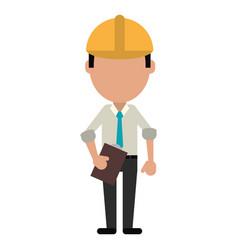 business man construction clipboard helmet vector image