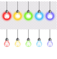 colorful lightbulbs isolated on white vector image vector image