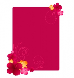 floral frame with hibiscus flowers vector image vector image