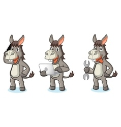 Gray Donkey Mascot with tools vector image vector image