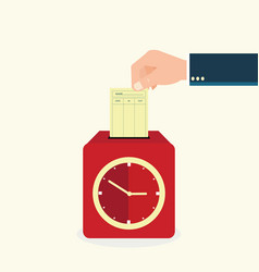 hand putting paper card in time recorder machine vector image