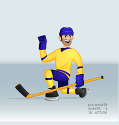 ice hockey player sliding vector image vector image