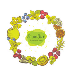 Smoothie herb spices and fruits vector