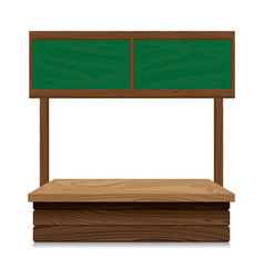 wooden market stall with green board on white vector image