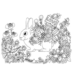 zentangl hare with a pointer vector image