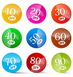 Colorful Discount Circles Set Labels Isolated on vector image vector image