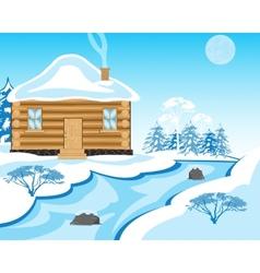 House beside in winter yard vector image vector image