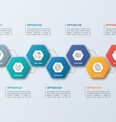infographic template with hexagons 7 options vector image vector image