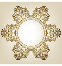 Jewelry gold frame with pearls on beige background vector image