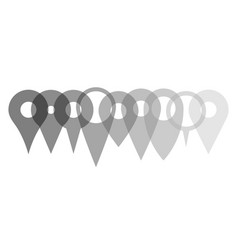 set of various map pointers arranged in a row vector image vector image