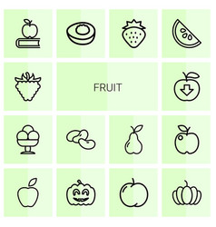 14 fruit icons vector