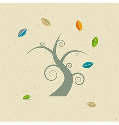 Abstract Tree on Recycled Paper vector image