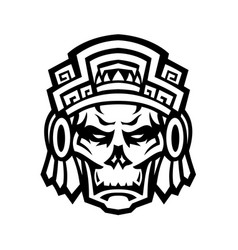 aztec warrior skull viewed from front mascot vector image