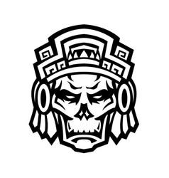 Aztec warrior skull viewed from front mascot vector