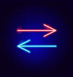 Back forward line arrow neon sign vector