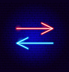 back forward line arrow neon sign vector image