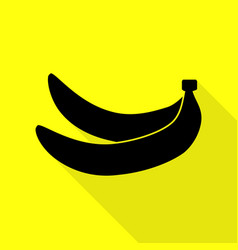 banana simple sign black icon with flat style vector image