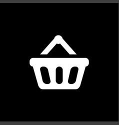 basket icon on black background black flat style vector image