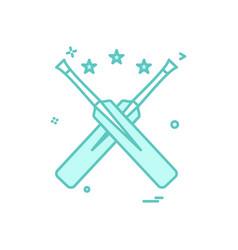 bat bats star cricket icon design vector image