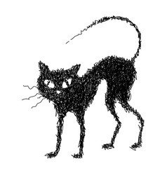 black cat drawn by hand vector image