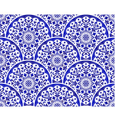 blue and white pottery pattern vector image