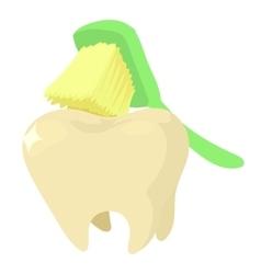 Brushing teeth icon cartoon style vector