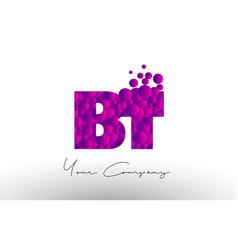Bt b t dots letter logo with purple bubbles vector