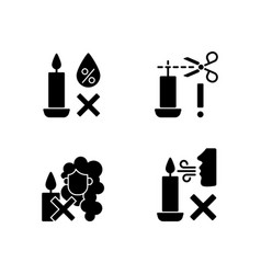 Candle safety warning black glyph manual label vector