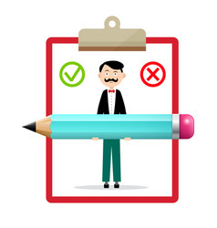 check mark icons with notebook man with big pencil vector image