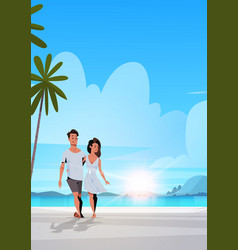 couple in love man woman embracing on tropical vector image
