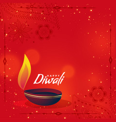 creative diwali diya on red background with text vector image