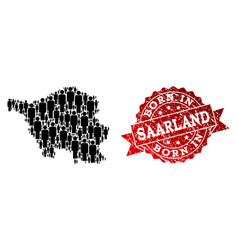 Crowd collage of mosaic map of saarland state and vector